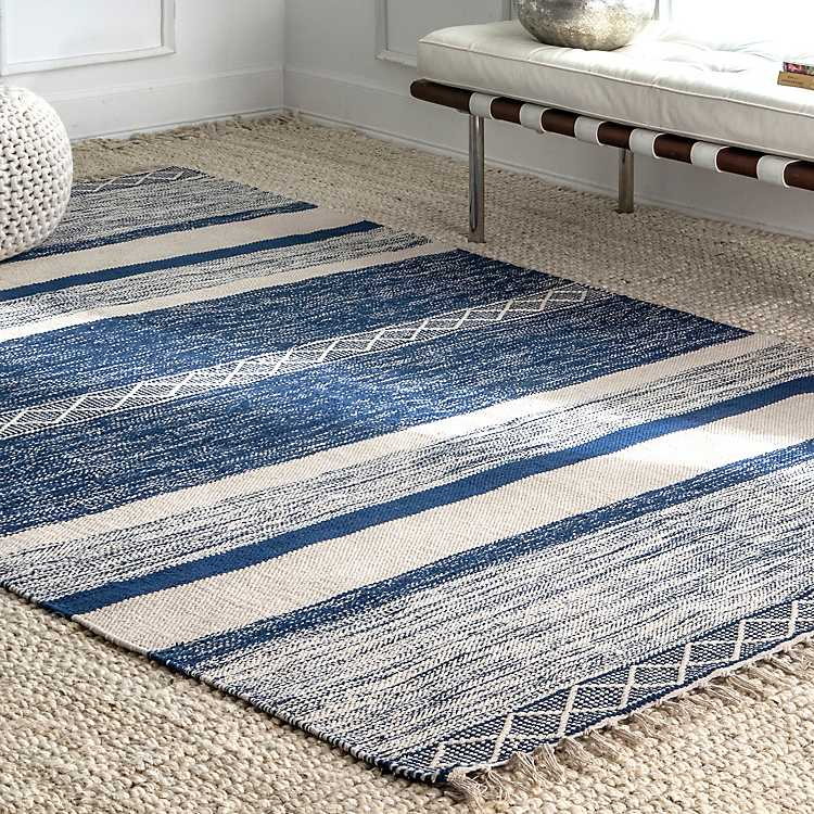 Blue Seabrook Striped Fringe Wool Area