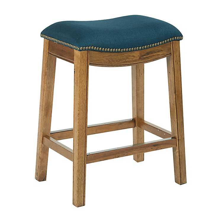 Superb Blue Archer Nailhead Trim Fabric Counter Stool Ncnpc Chair Design For Home Ncnpcorg