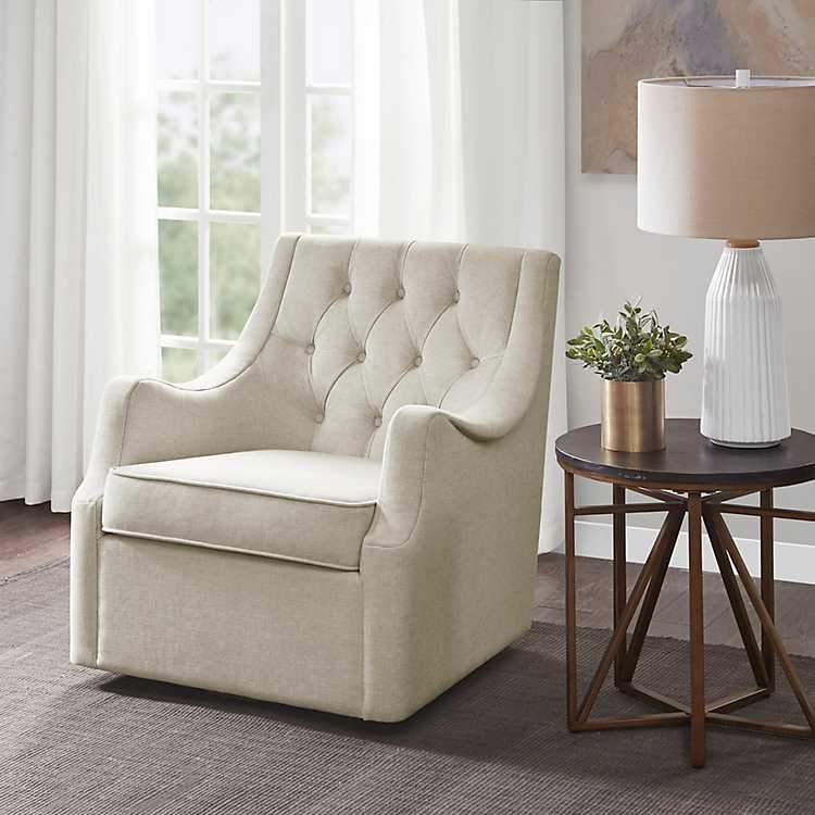 On Tufted Upholstered Swivel Chair