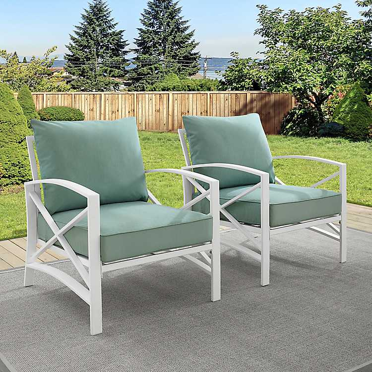 Green And White Dayton Outdoor Chairs