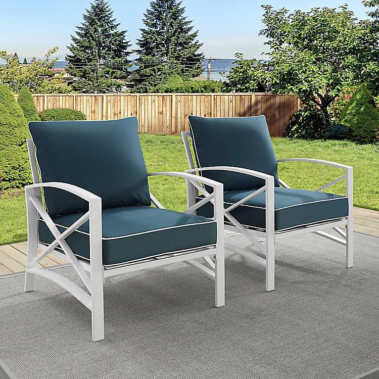Navy And White Dayton Outdoor Chairs
