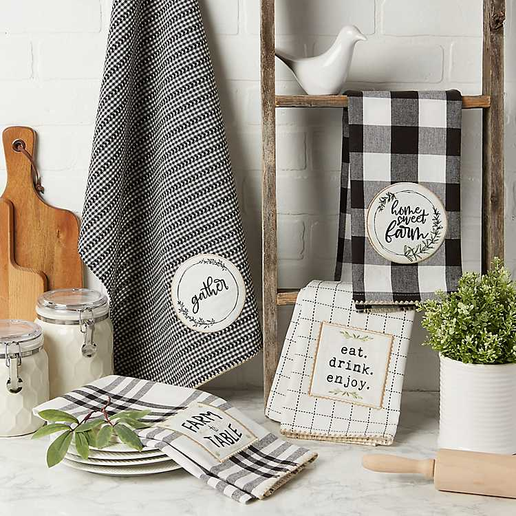 Black Checked Farmhouse Kitchen Towels