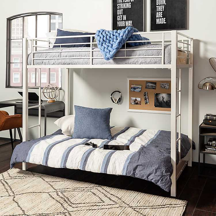 White Metal Twin Over Futon Bunk Bed
