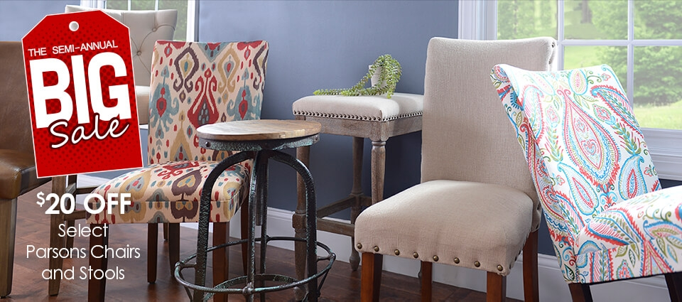 Big Sale - $20 OFF Select Parsons Chairs & Stools