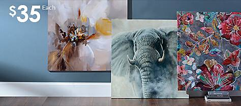 large selection of canvas art
