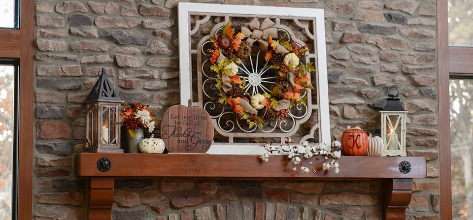 Mantle with harvest decor