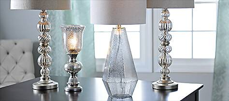 Choose from a variety of Mirrored and Mercury Glass Lamps