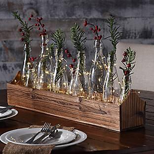 Glass Bottle Vase Runner Set