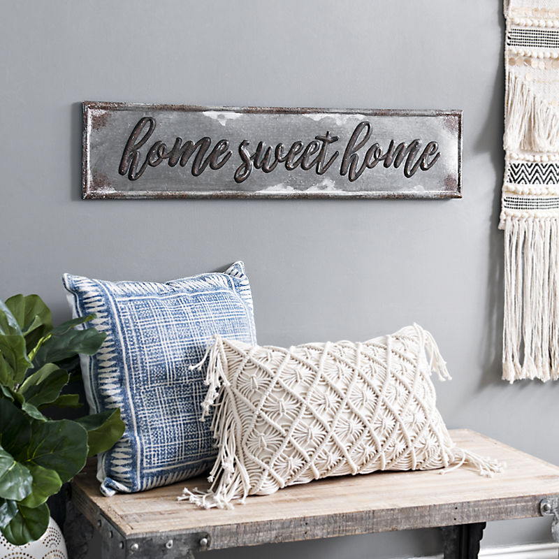 Home Sweet Home Galvanized Metal Wall Plaque