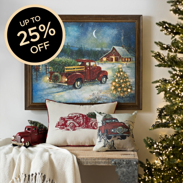 Pre-Lit Christmas Cottage Framed Canvas Art Print