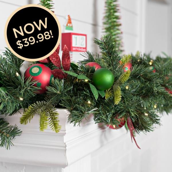 Pre-Lit So Very Merry Ornament Garland