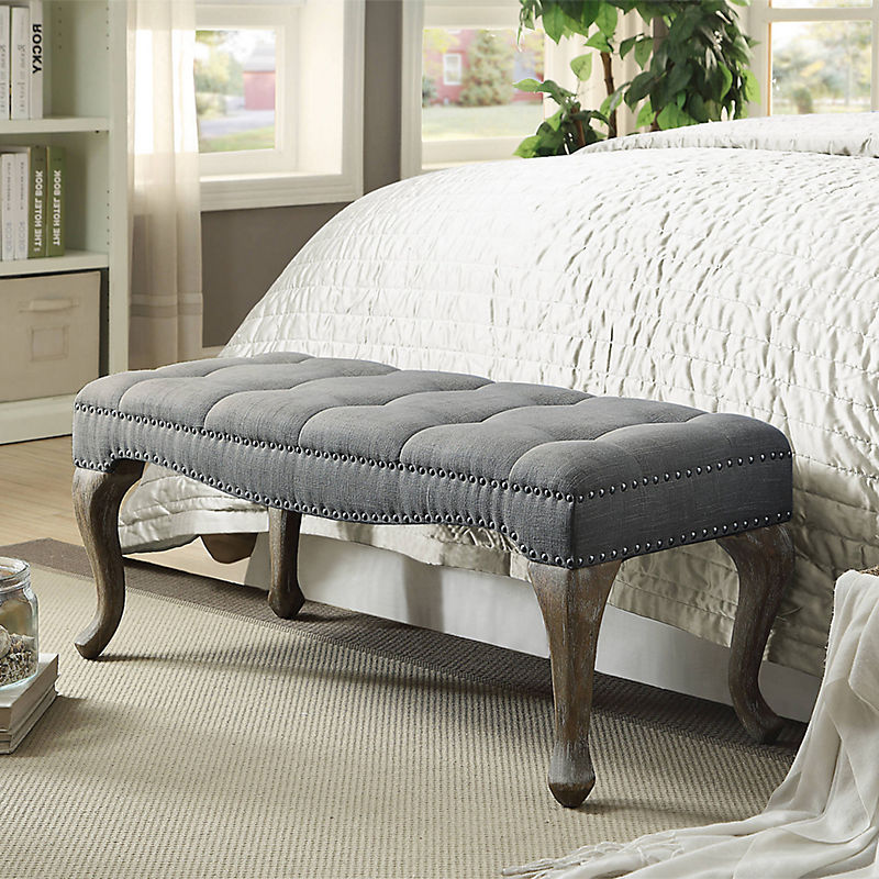 Gray Washed Olivia Cabriolet Linen Bench