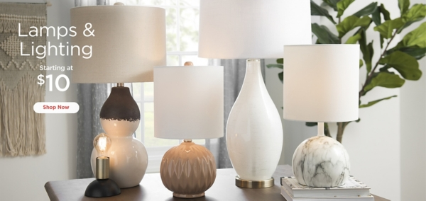 Lamps & Lighting Starting at $10 - Shop Now