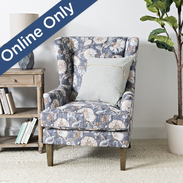 Blue Floral Wingback Accent Chair