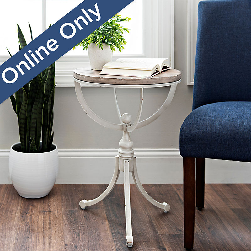Kimberly Metal Cream and Wood Top Accent Table