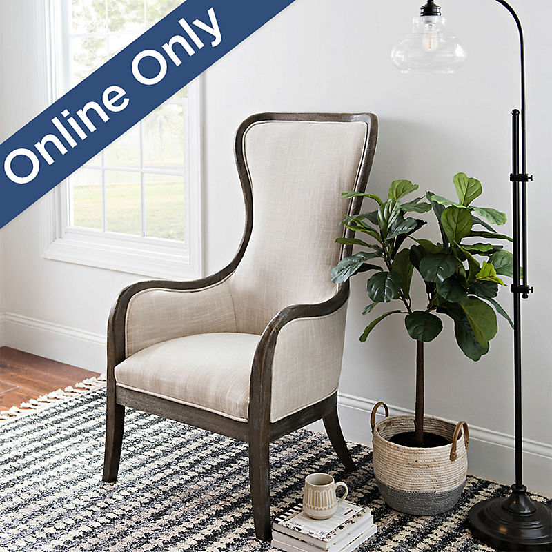 Cream High Wing Back Accent Chair