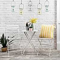 White Metal Table and Chairs 3-piece Bistro Set
