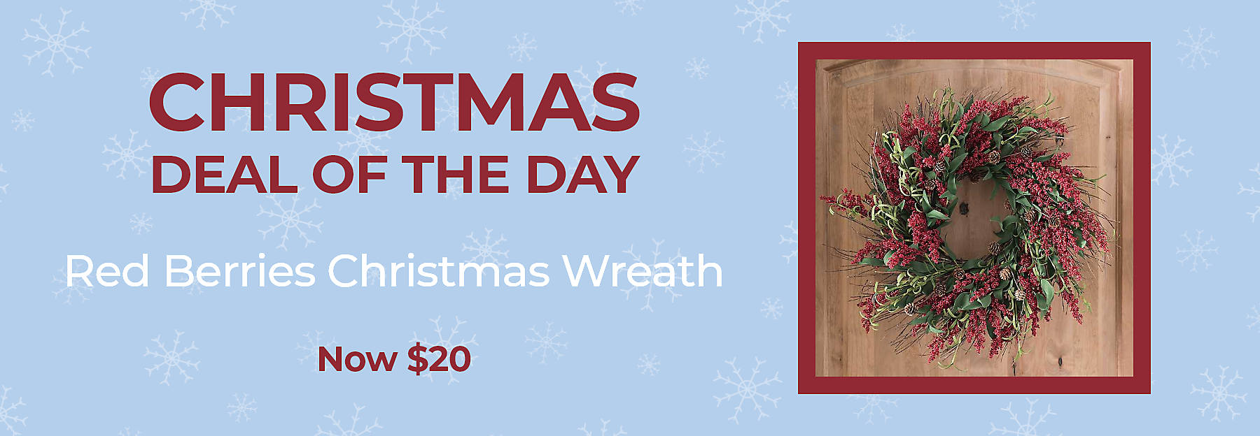 Christmas Deal of the Day Red Berries Christmas Wreath Now $20