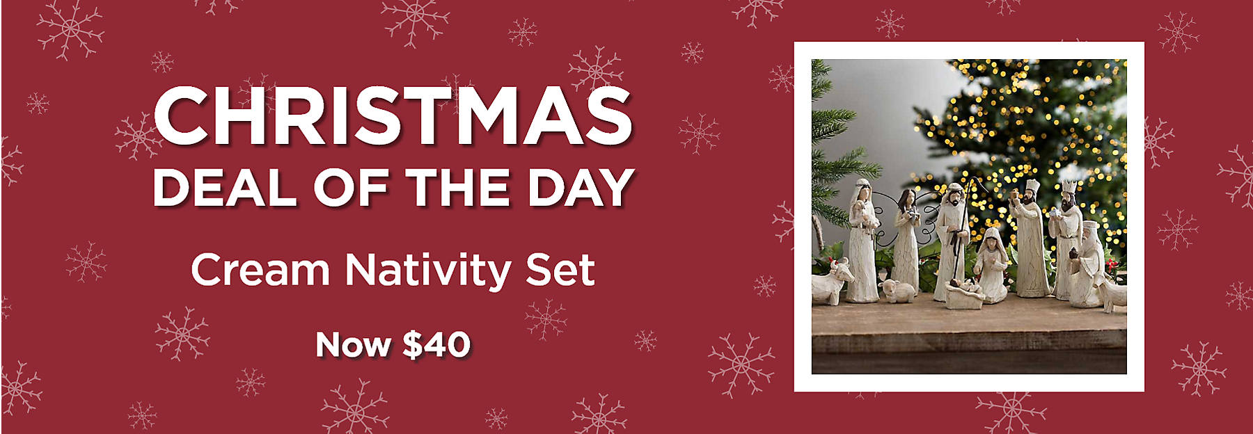 Christmas Deal of the Day Cream Nativity Set Now $40