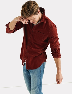 Men's Red Button Up