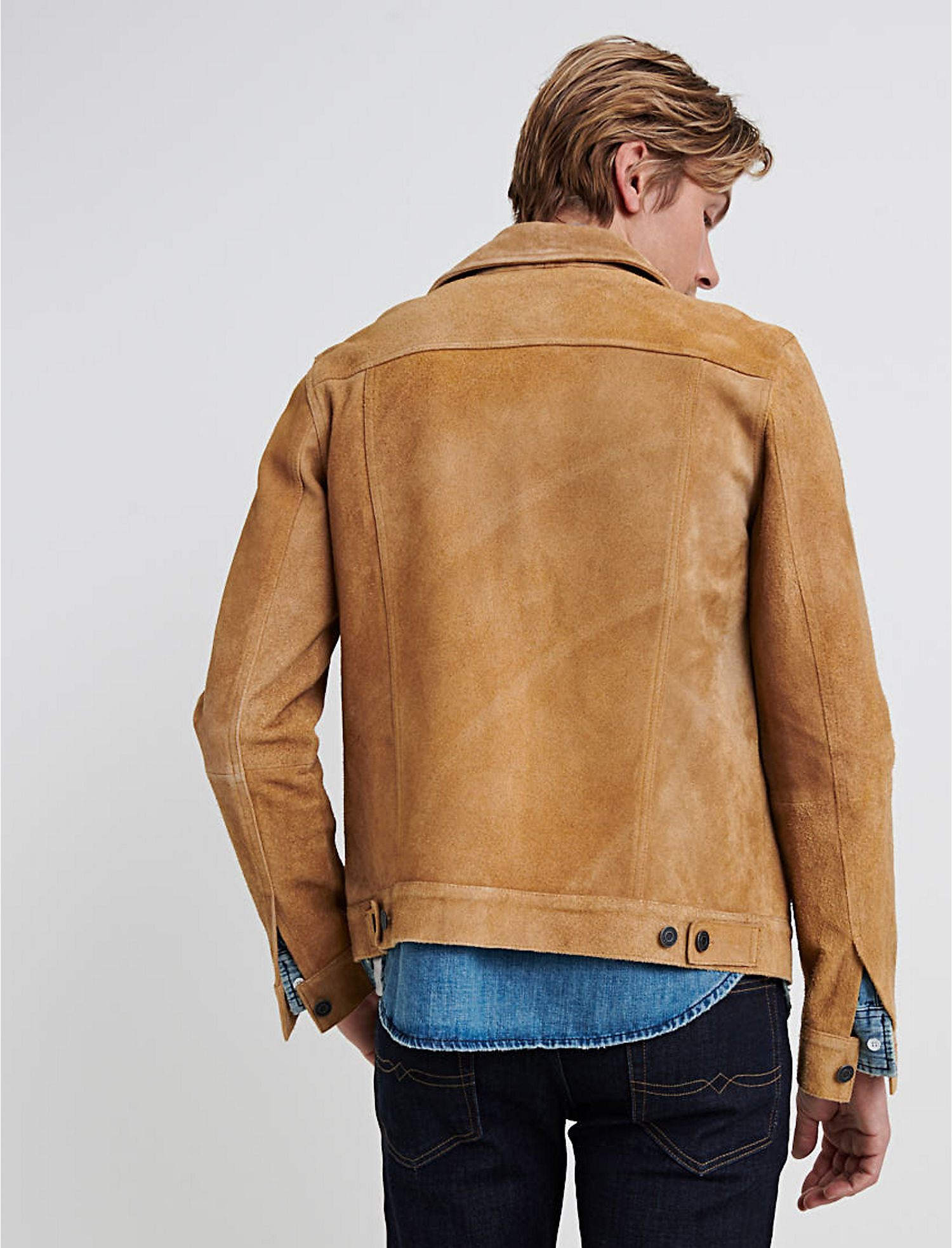 a6388be82 Details about Lucky Brand Men's Suede Trucker Jacket