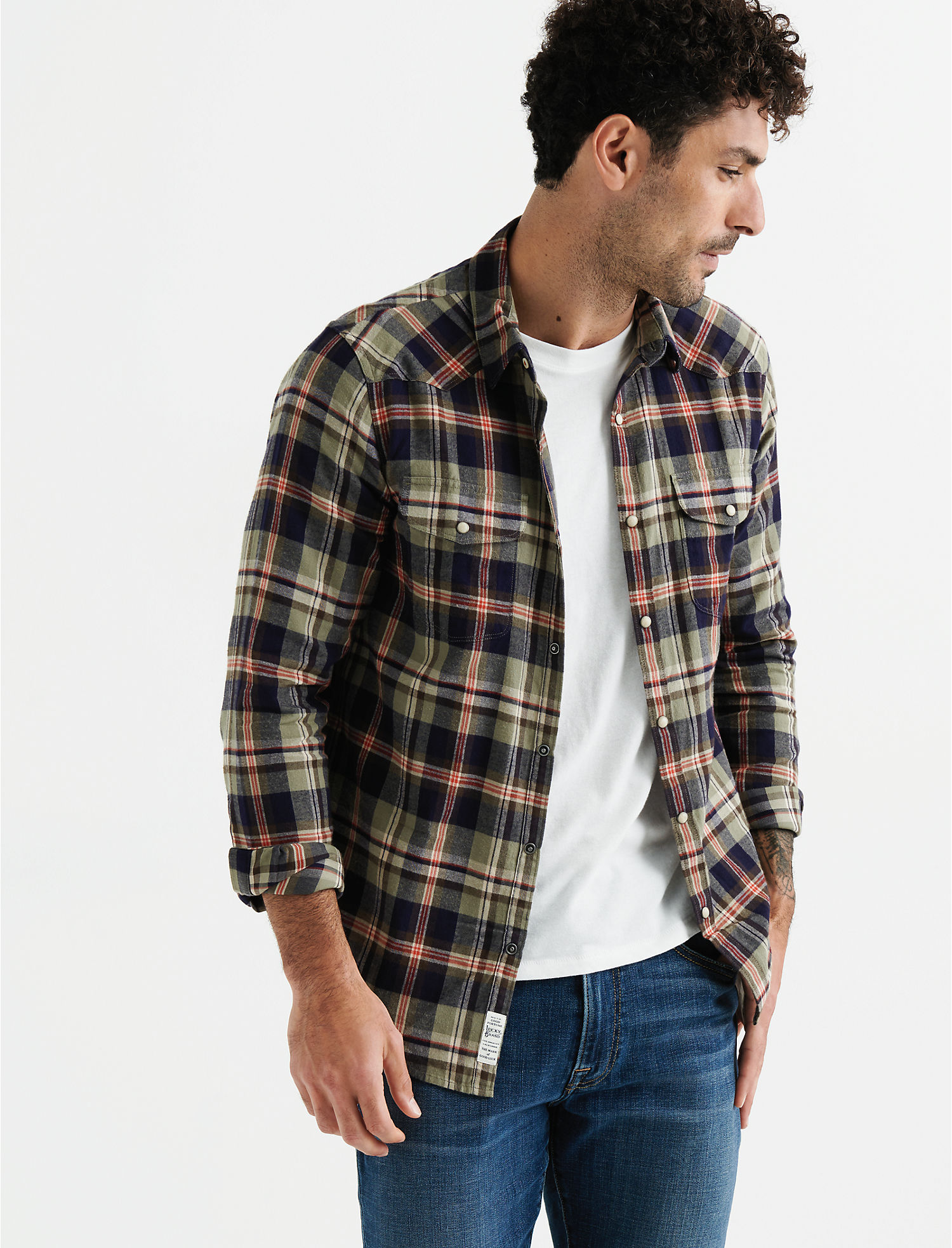 4e6daea0e6 Lucky Brand Mens Long Sleeve Santa Fe Western Shirt L Olive Plaid