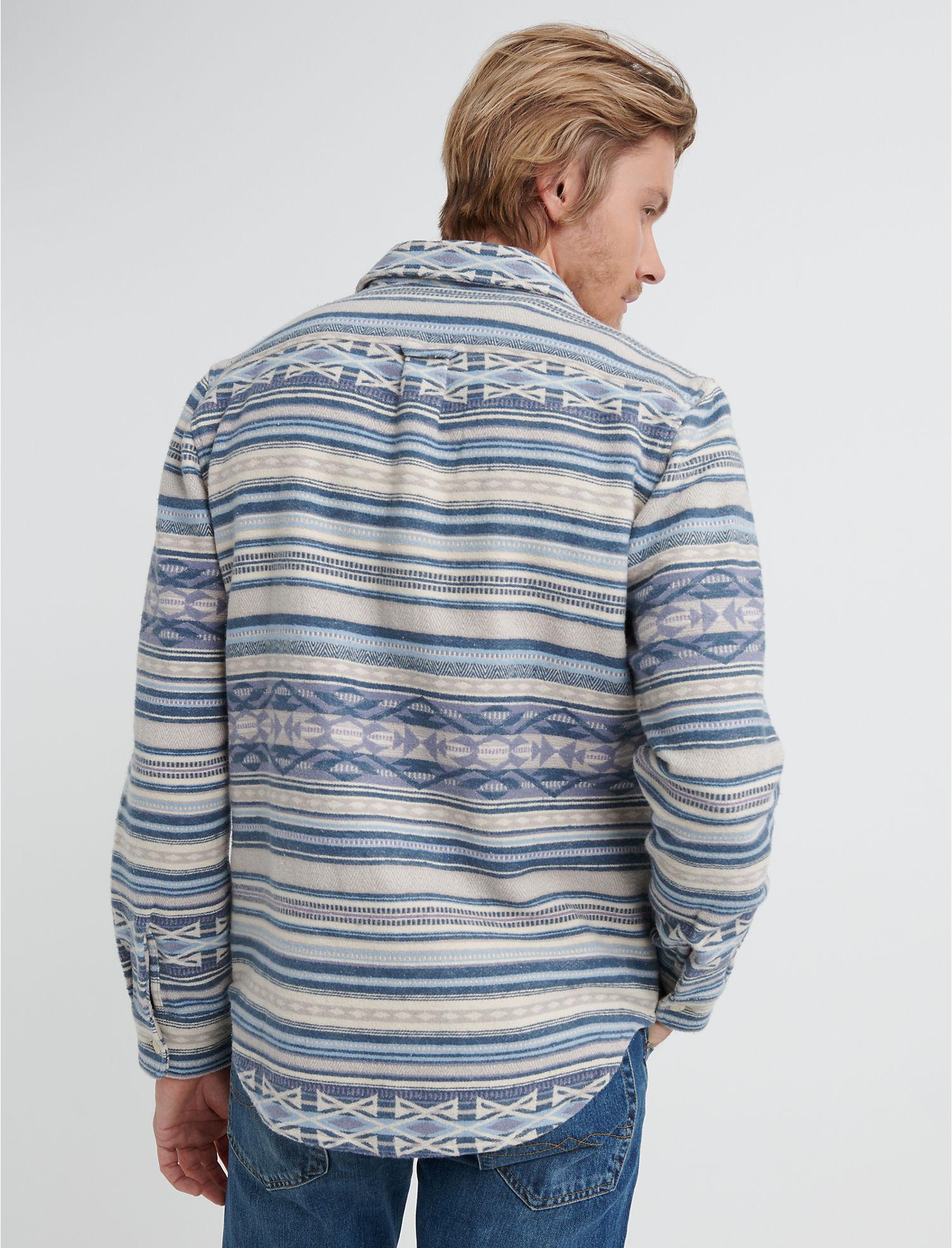 48eaeff530 Lucky Brand Mens Alta Vista Flannel Shirt Jacket L Blue Stripe