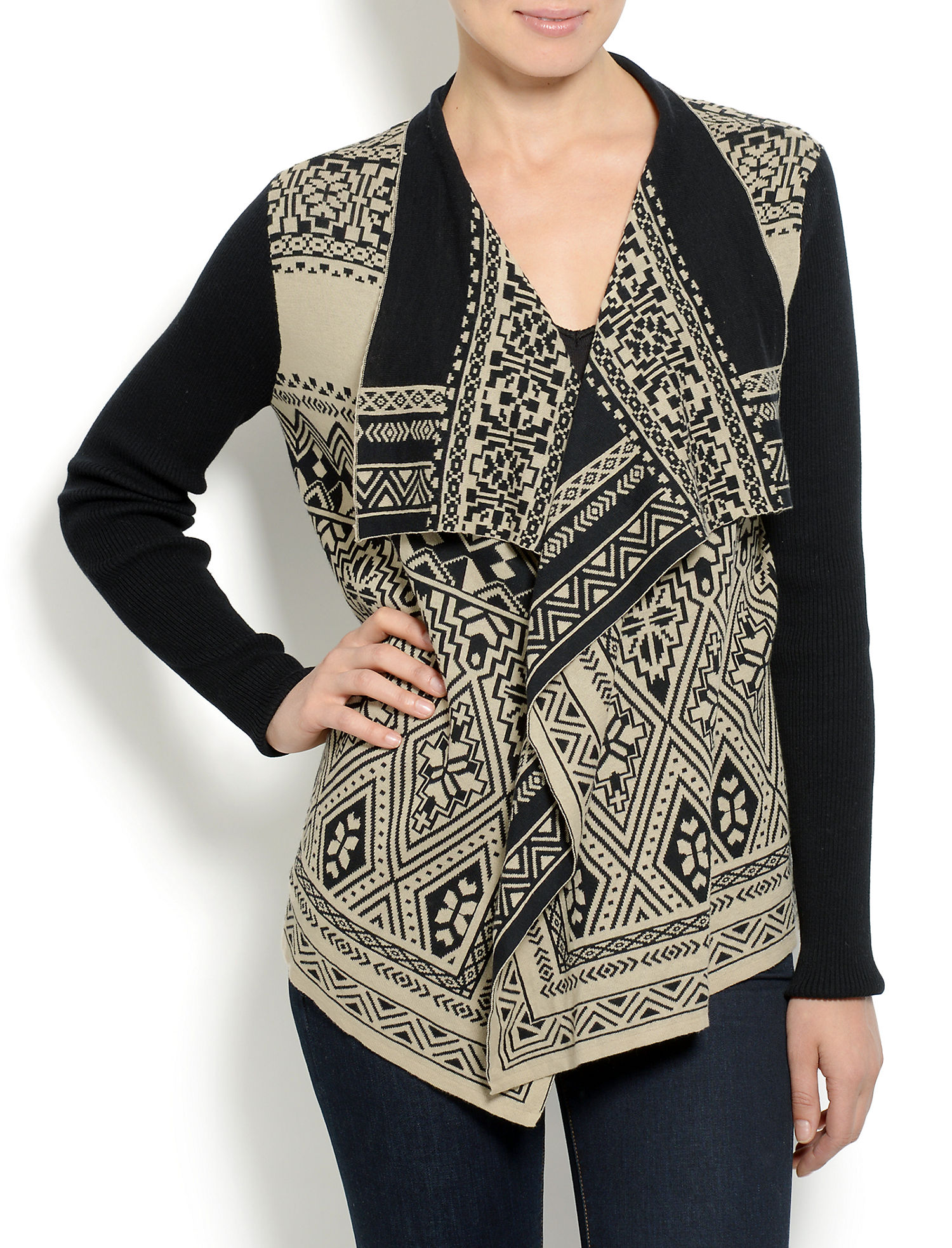 Lucky Brand Womens Waterfall Cardigan - Medium - Black/Tan Print ...