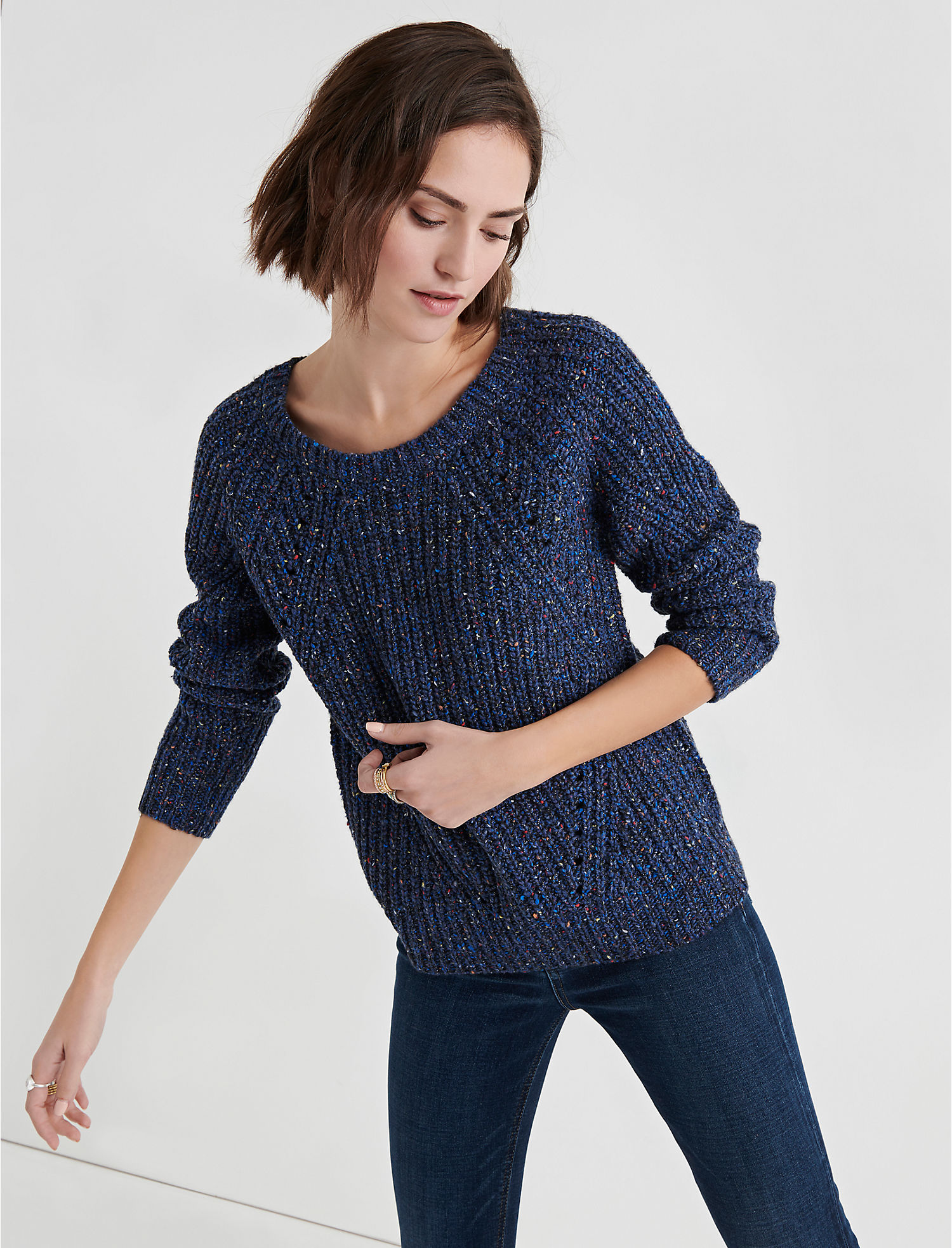 f5a73e38f Lucky Brand Womens Marled Crew Neck Pointelle Sweater XS Blue Multi