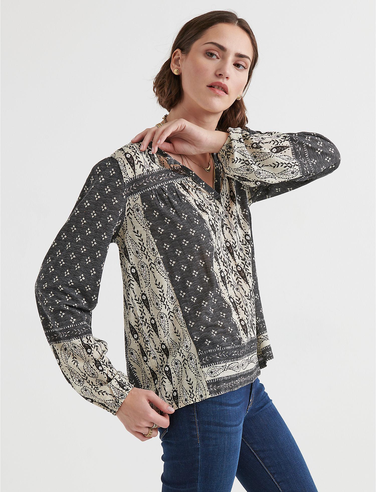 675764095b410 Lucky Brand Womens Paisley Border Print Peasant XS Grey Multi