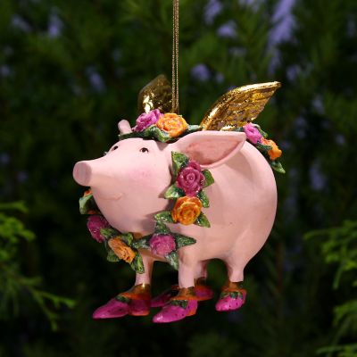 Patience Brewster Rose Flying Pig Ornament