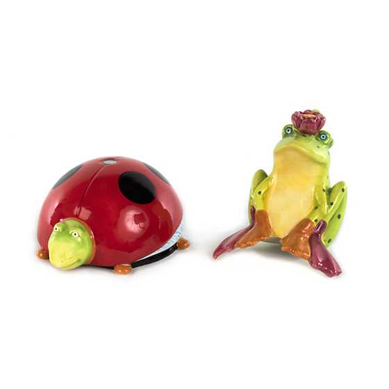 Patience Brewster Frog on Ladybug Salt & Pepper Shakers
