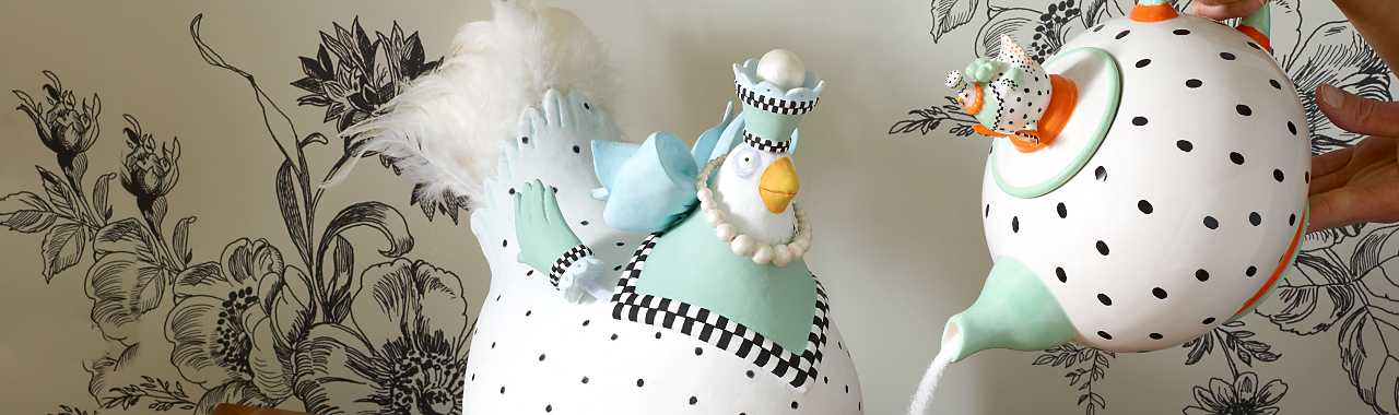 Patience Brewster Speckled Chicken Teapot Banner Image