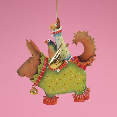Patience Brewster Terrier Carrier Tin Ornament