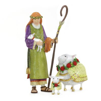 Patience Brewster Nativity Shepherd & Sheep Figure