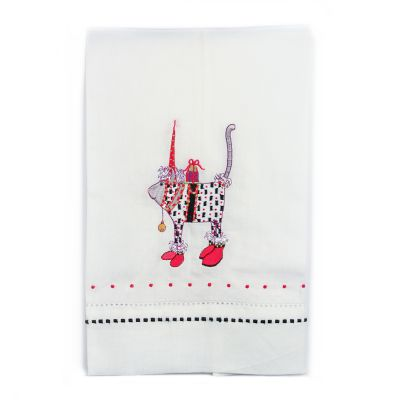 Patience Brewster Pat Santa Hat Cat Tea Towel