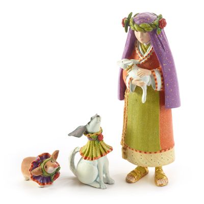 Patience Brewster Nativity Shepherdess with Dog Figures