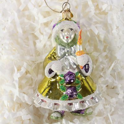 Patience Brewster Green Elf Glass Ornament