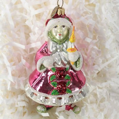 Patience Brewster Pink Elf Glass Ornament