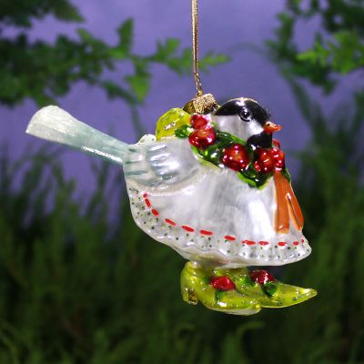 Patience Brewster Chickadee Glass Ornament