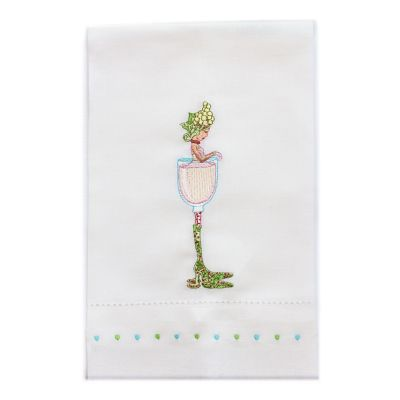 Patience Brewster Petal Rose Wine Girl Tea Towel