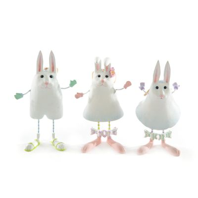 Patience Brewster Marshmallow Rabbit Ornaments - Set of 3