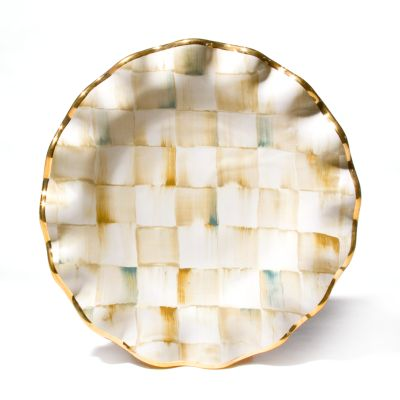 Parchment Check Fluted Dessert Plate