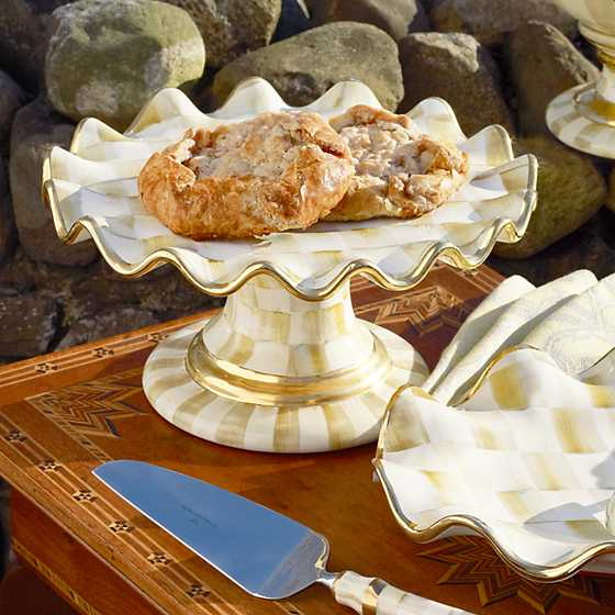 Parchment Check Fluted Cake Stand image two