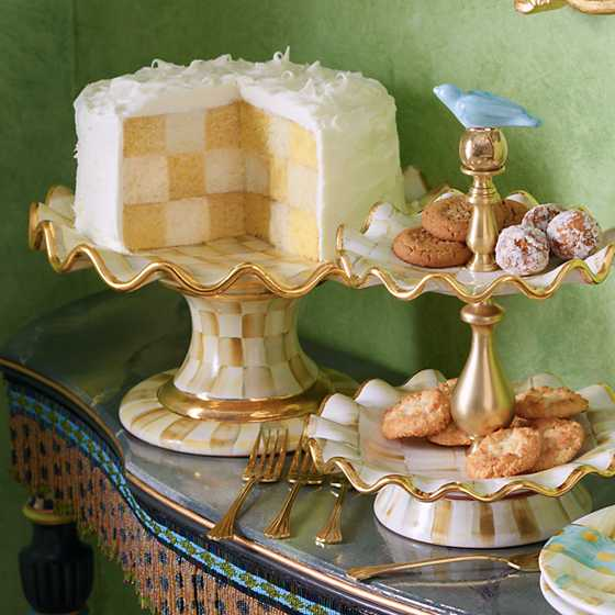 Parchment Check Fluted Cake Stand image four