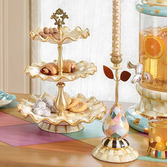 Parchment Check Three Tier Sweet Stand image five