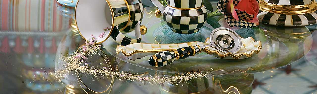 Mackenzie Childs COURTLY CHECK Porcelain Handle TEA STRAINER Set NEW $58 m19-n
