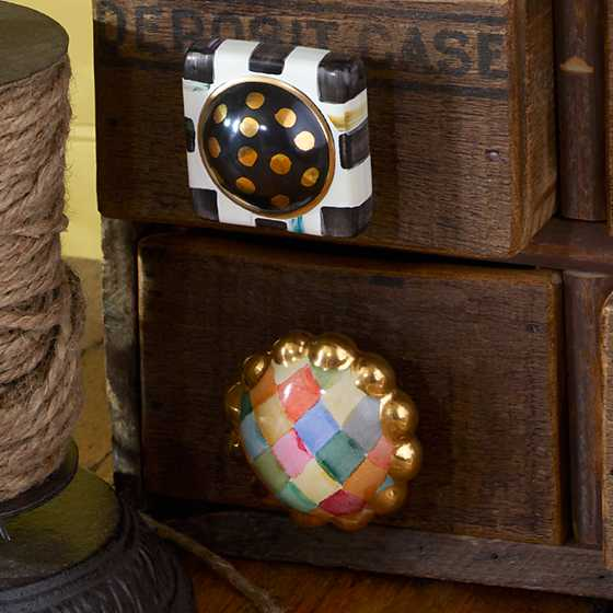 Petit Four Square Knob - Courtly Check image two