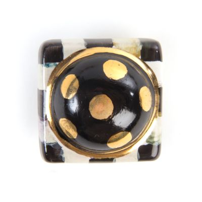 Petit Four Square Knob - Courtly Check