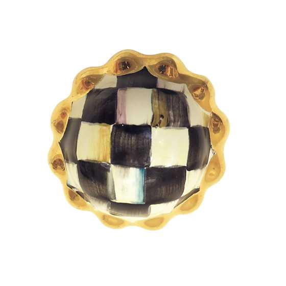 Mackenzie Childs Petit Four Round Knob Courtly Check